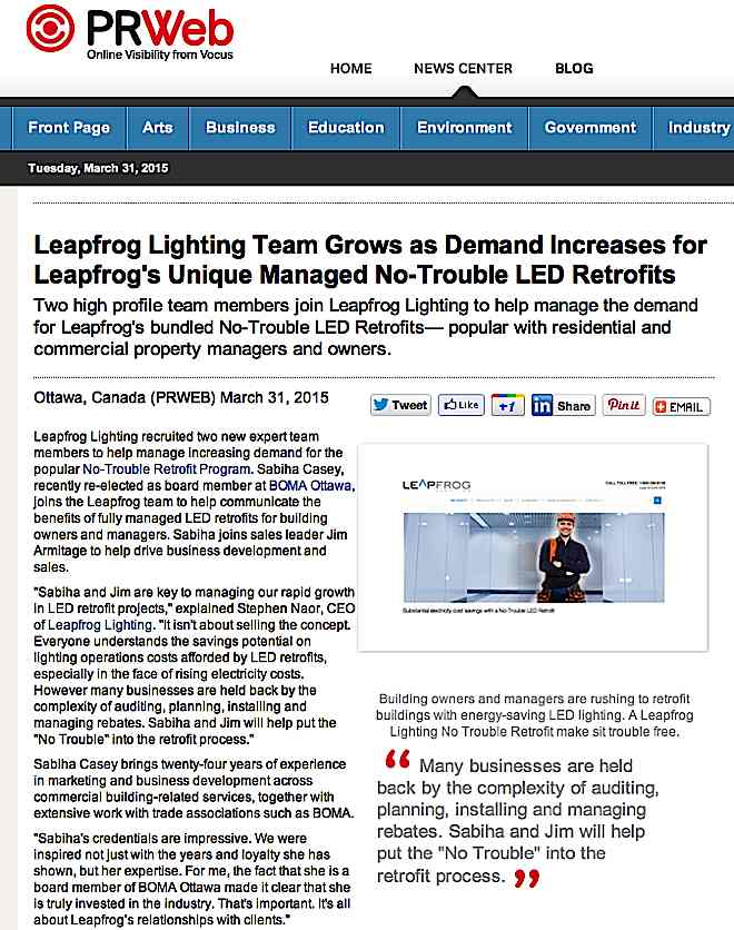 "Press Release on PR Web and AP Wire March 31, 2015: ""Leapfrog Lighting Team Grows as Demand Increases for Leapfrog's Unique Managed No-Trouble LED Retrofits"""
